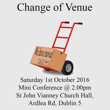 Change of Venue for Saturday 1st October 2016
